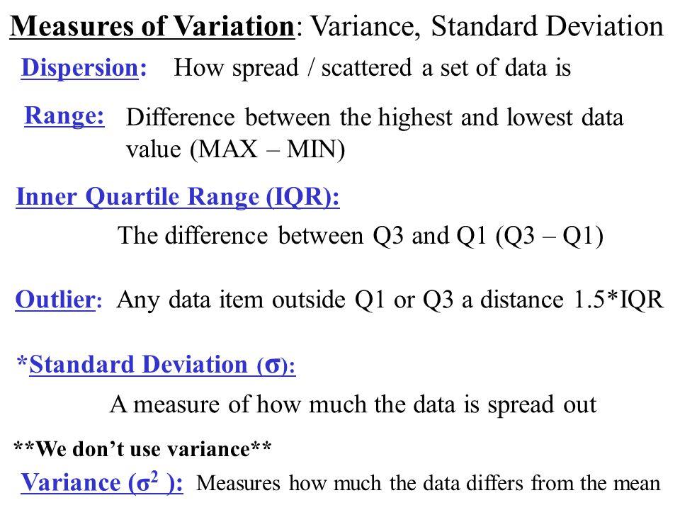 Measures of Variation: Variance, Standard Deviation