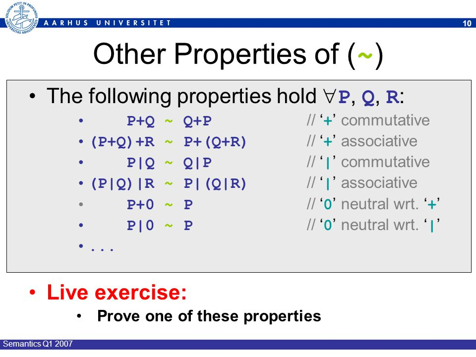 Other Properties of (~)