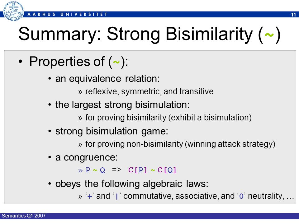 Summary: Strong Bisimilarity (~)