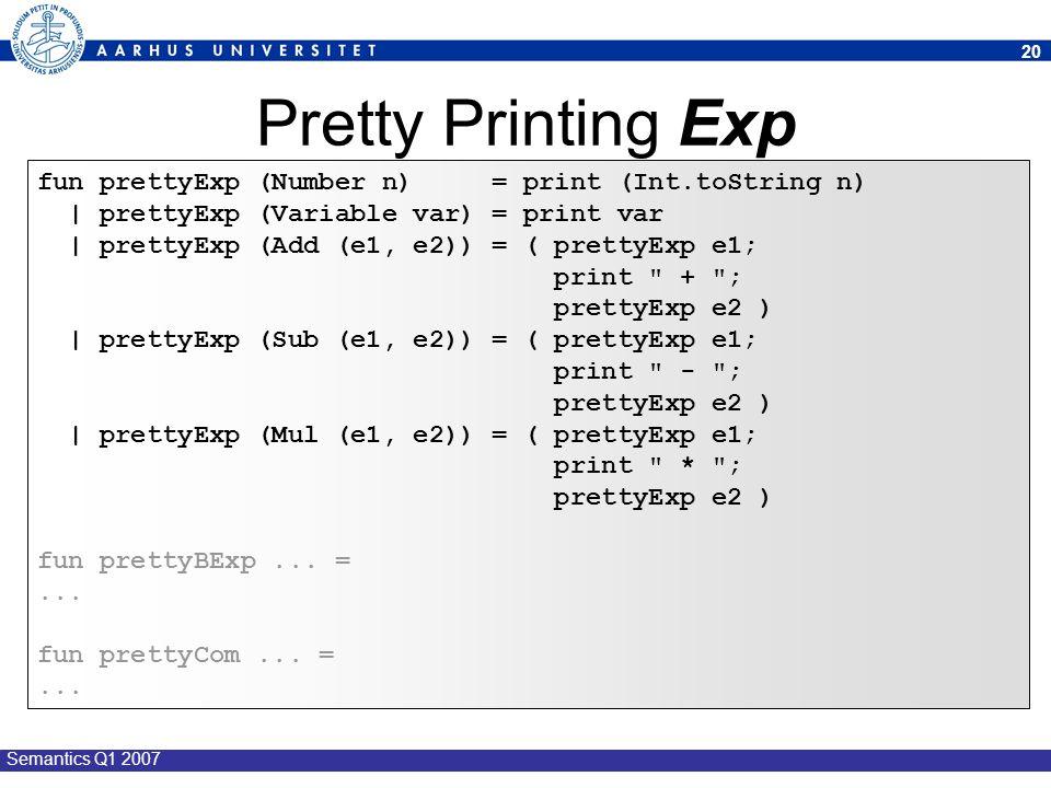 Pretty Printing Exp fun prettyExp (Number n) = print (Int.toString n)