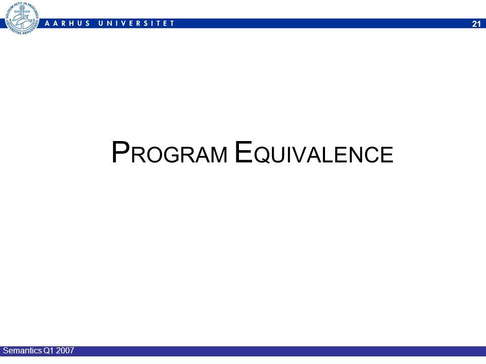 PROGRAM EQUIVALENCE Semantics Q1 2007