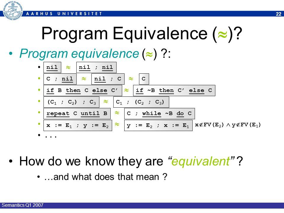 Program Equivalence ()
