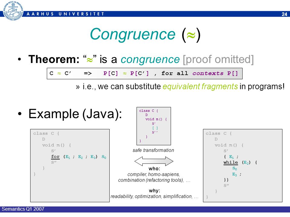 Congruence () Example (Java):