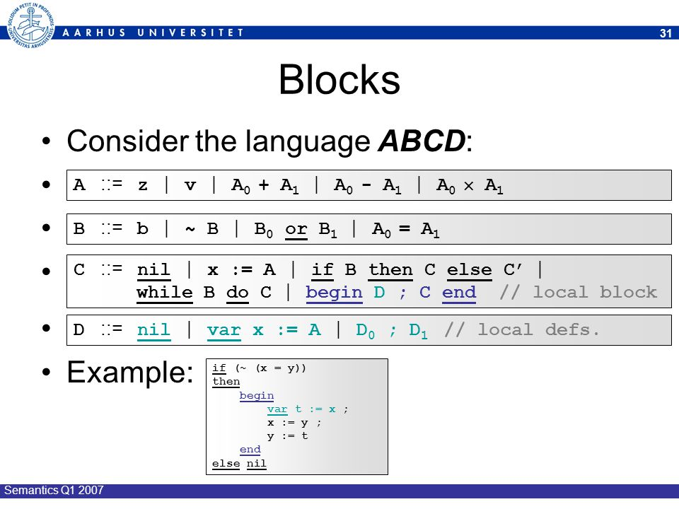 Blocks Consider the language ABCD: Example: