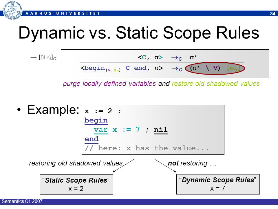 Dynamic vs. Static Scope Rules