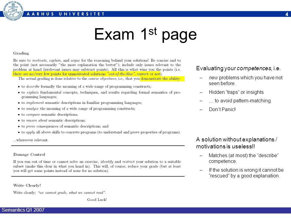 Exam 1st page Evaluating your competences, i.e.