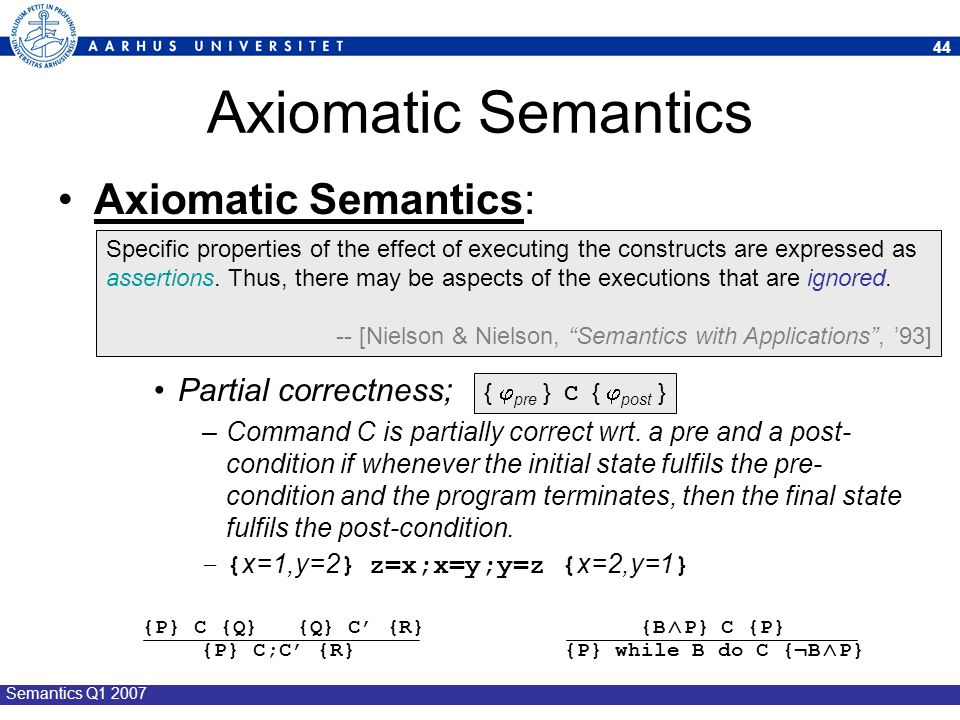 Axiomatic Semantics Axiomatic Semantics: Partial correctness;
