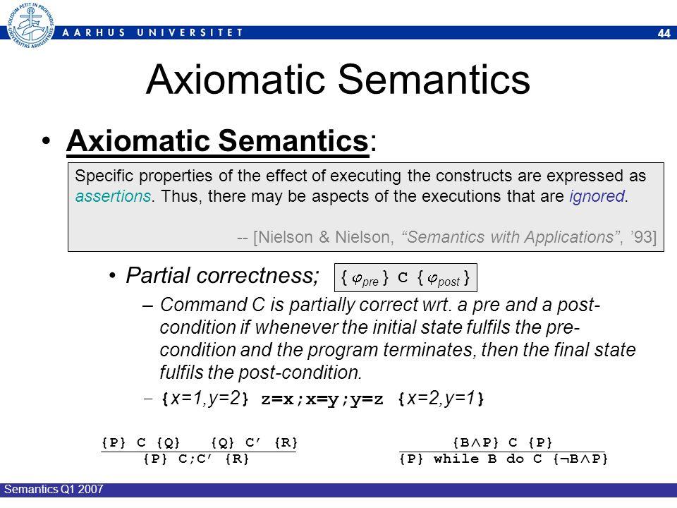 Axiomatic Semantics Axiomatic Semantics: Partial correctness;