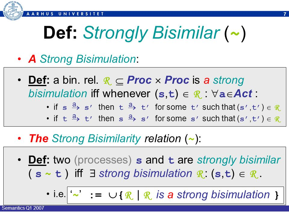 Def: Strongly Bisimilar (~)