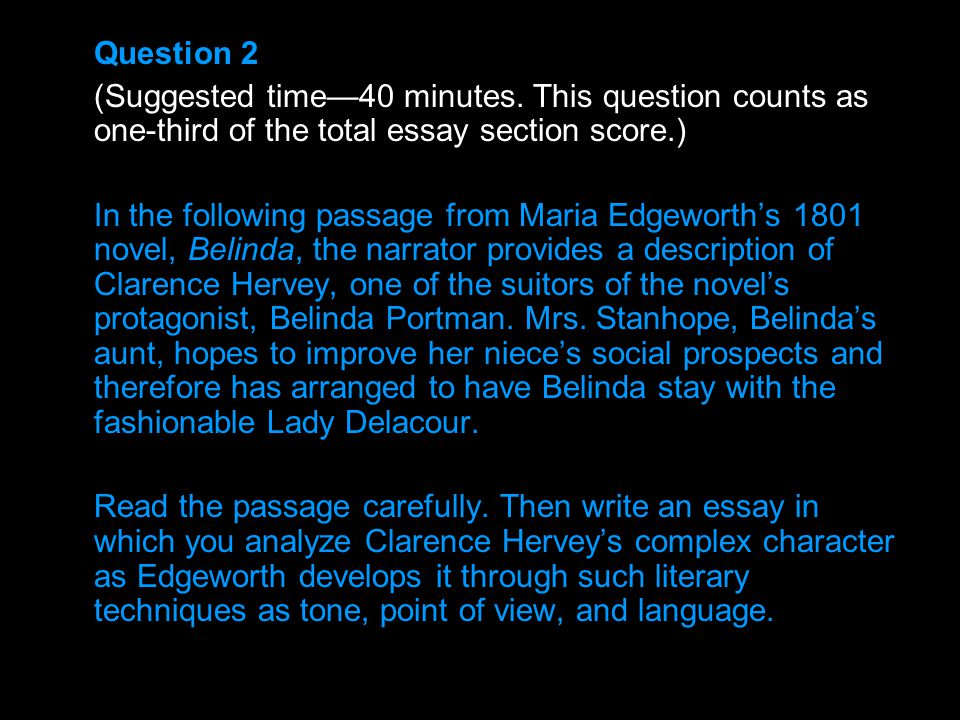 Question 2 (Suggested time—40 minutes. This question counts as one-third of the total essay section score.)
