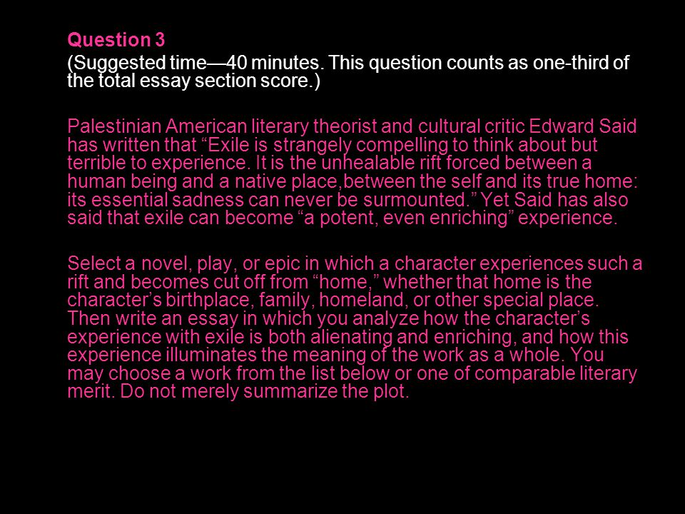 Question 3 (Suggested time—40 minutes. This question counts as one-third of the total essay section score.)