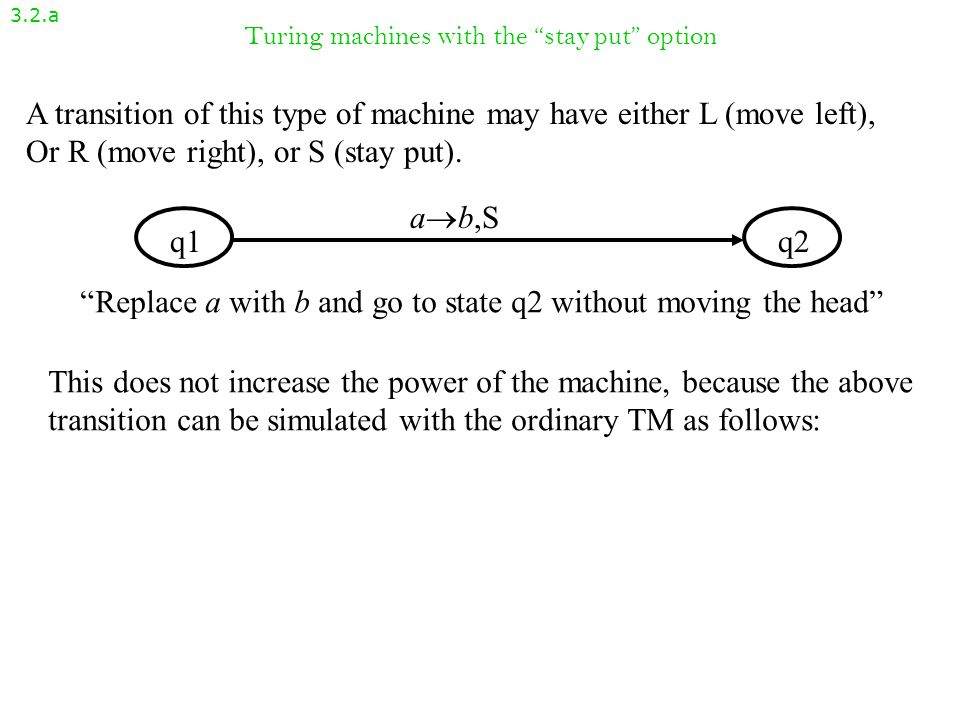 Turing machines with the stay put option