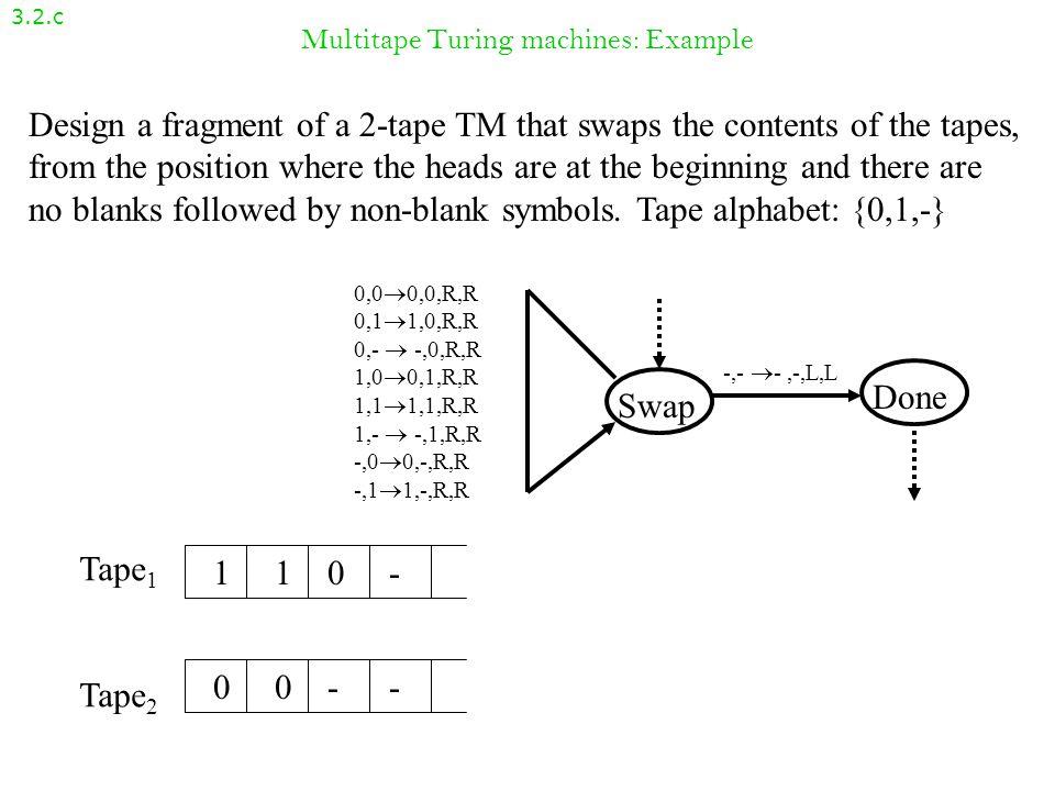 Multitape Turing machines: Example