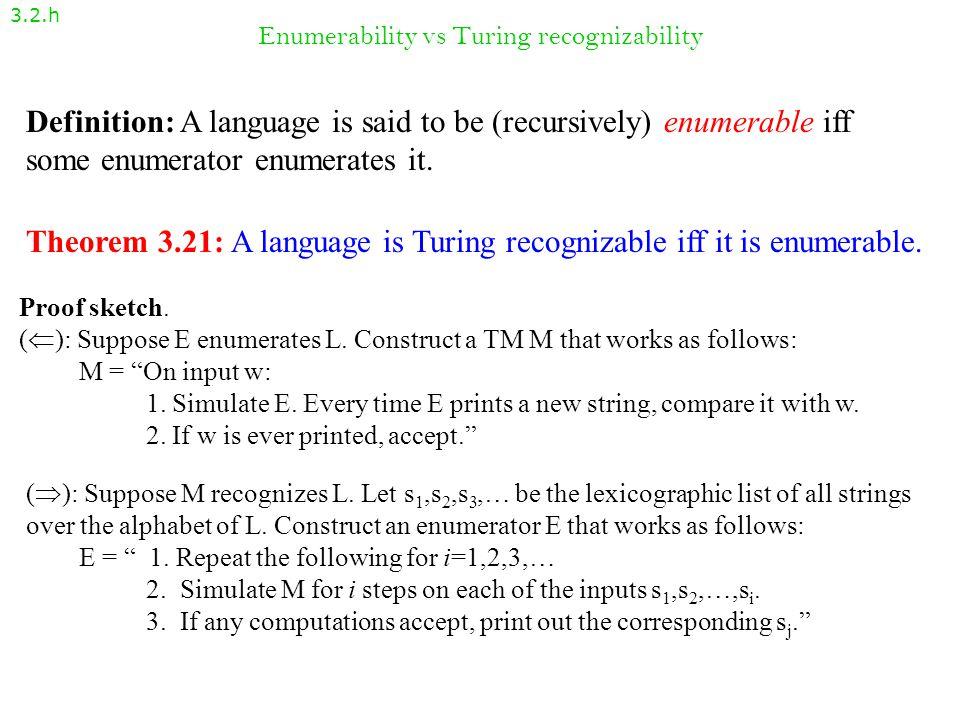 Enumerability vs Turing recognizability