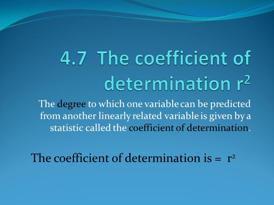 4.7 The coefficient of determination r2