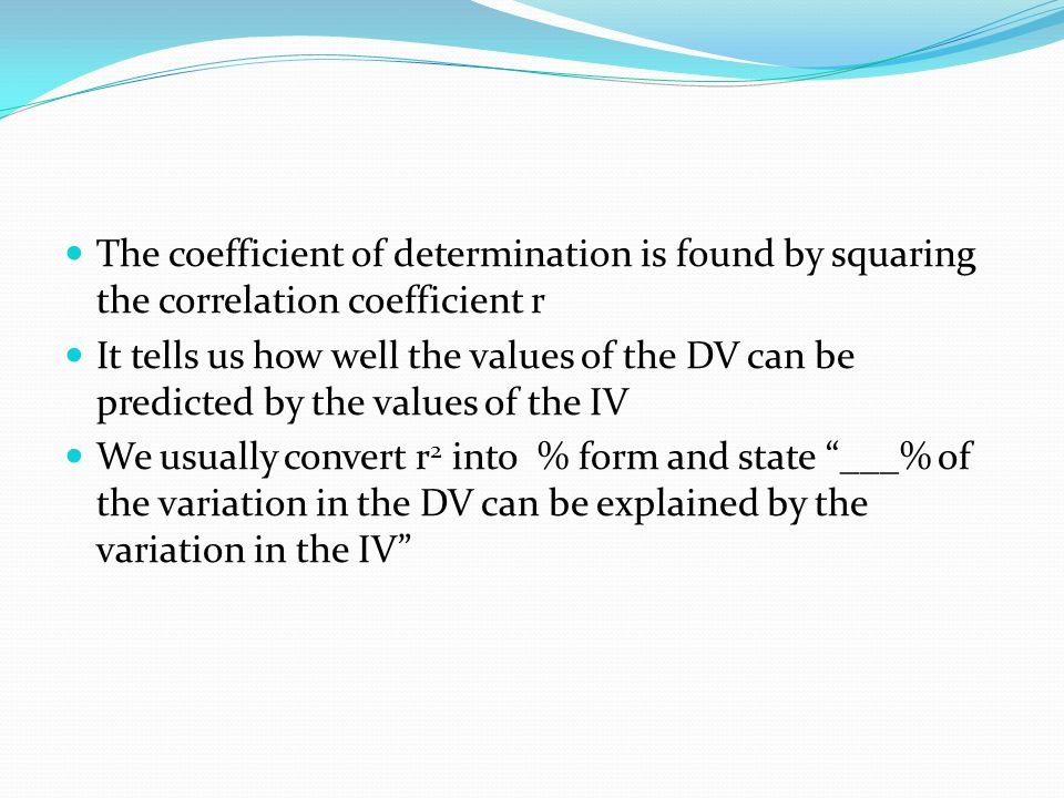The coefficient of determination is found by squaring the correlation coefficient r