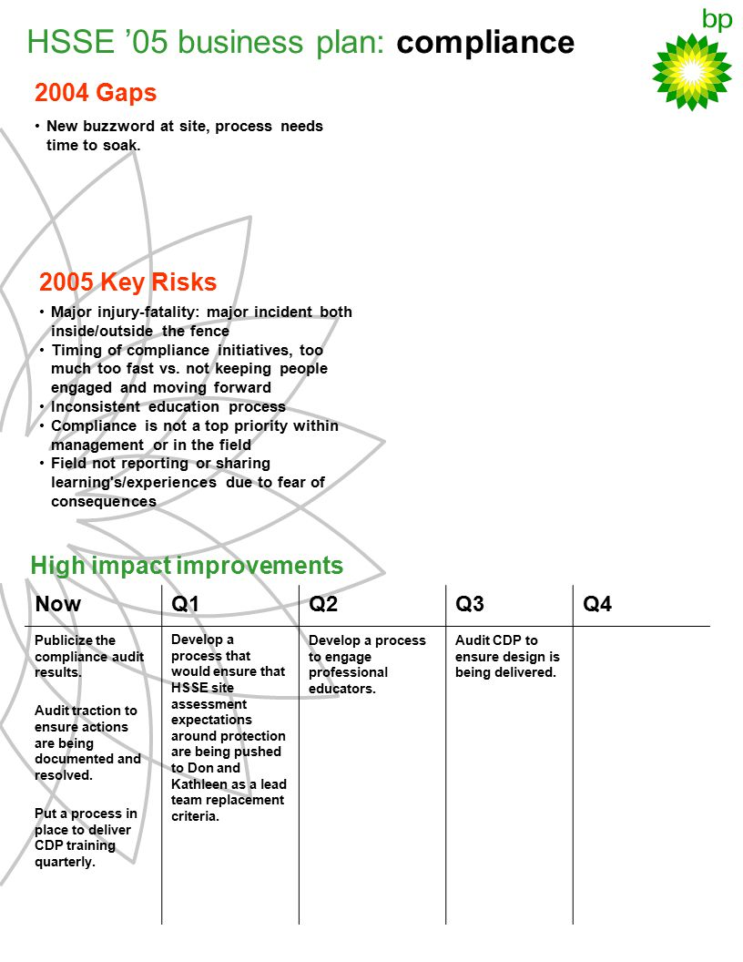 HSSE '05 business plan: compliance