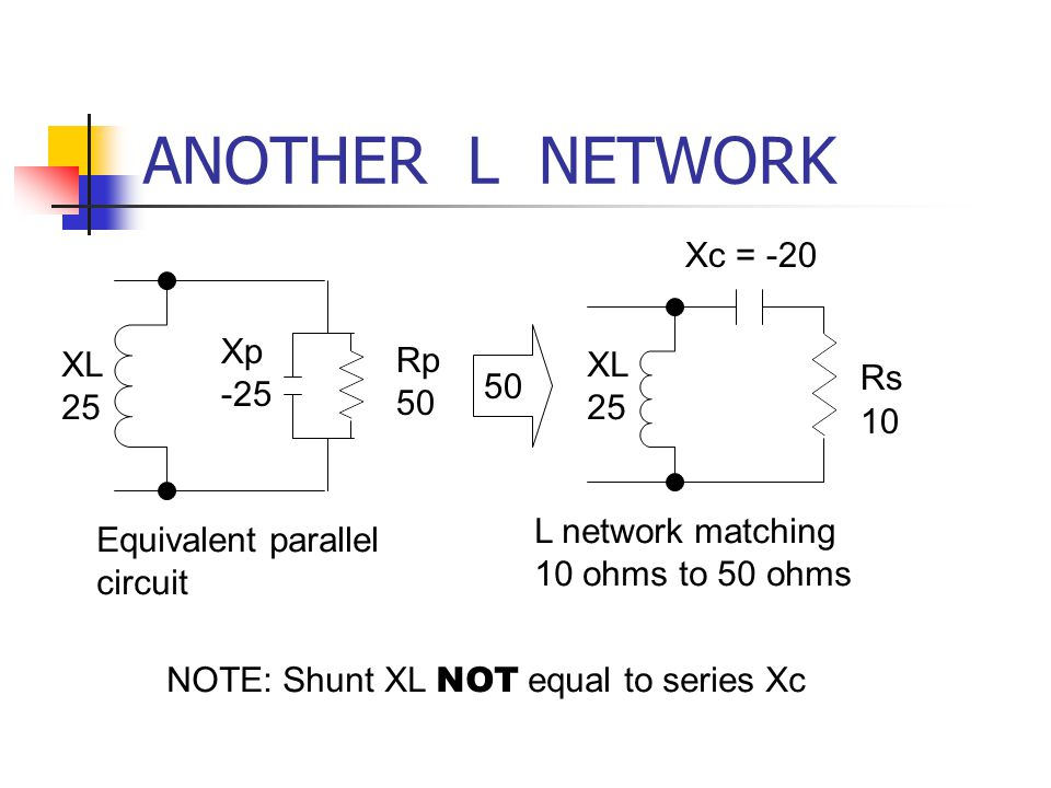 ANOTHER L NETWORK Xc = -20 Xp -25 XL 25 Rp 50 XL 25 Rs 50 10
