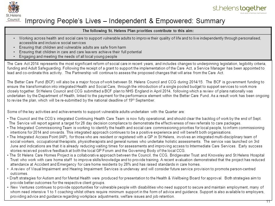 Improving People's Lives – Independent & Empowered: Summary
