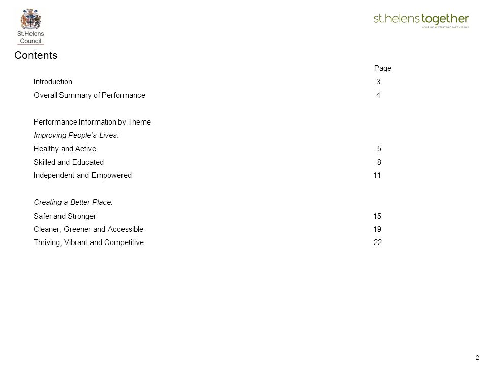 Contents Page Introduction 3 Overall Summary of Performance 4