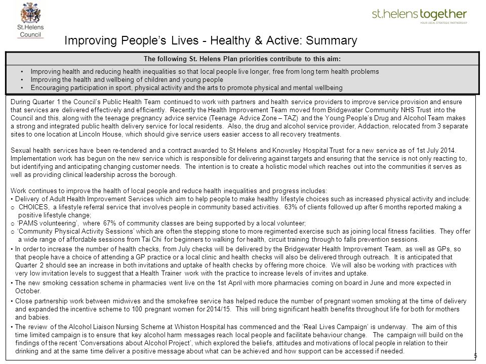 Improving People's Lives - Healthy & Active: Summary