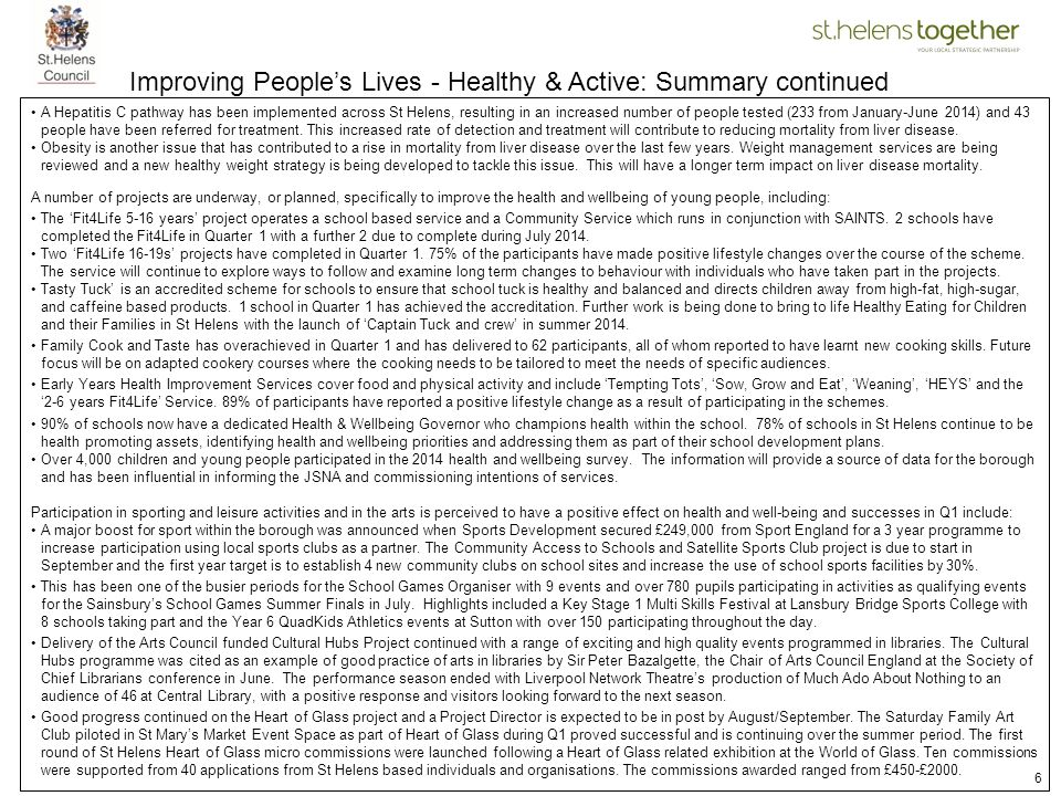 Improving People's Lives - Healthy & Active: Summary continued
