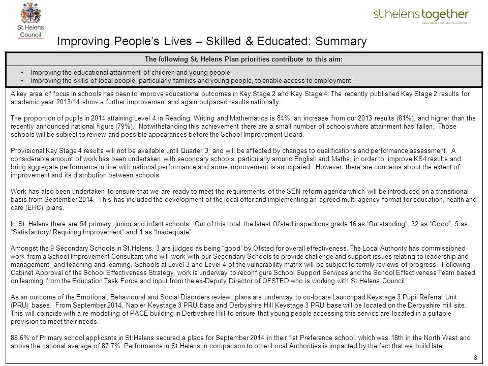 Improving People's Lives – Skilled & Educated: Summary