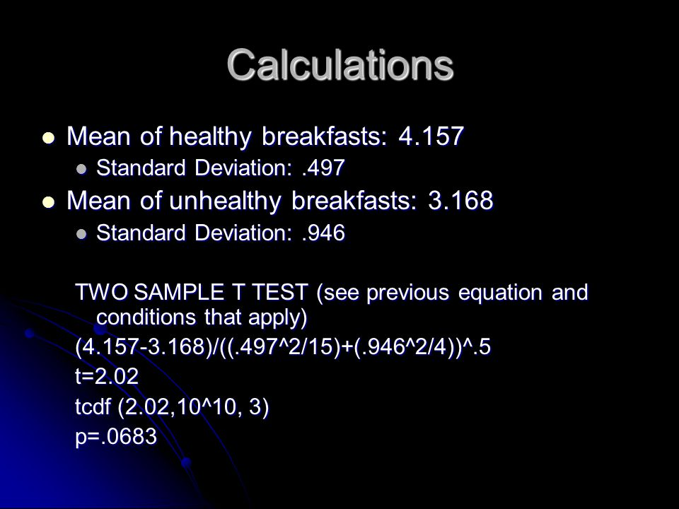 Calculations Mean of healthy breakfasts: 4.157