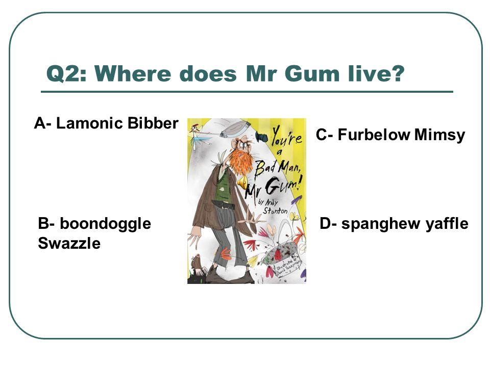 Q2: Where does Mr Gum live