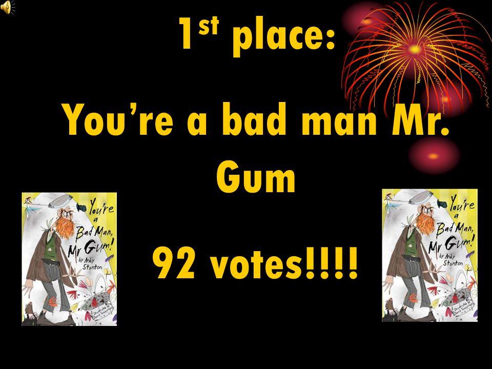 1st place: You're a bad man Mr. Gum 92 votes!!!!
