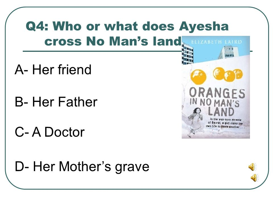 Q4: Who or what does Ayesha cross No Man's land to see