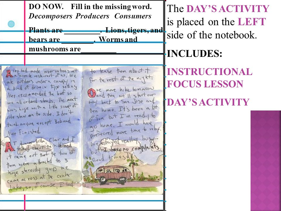 The DAY'S ACTIVITY is placed on the LEFT side of the notebook.