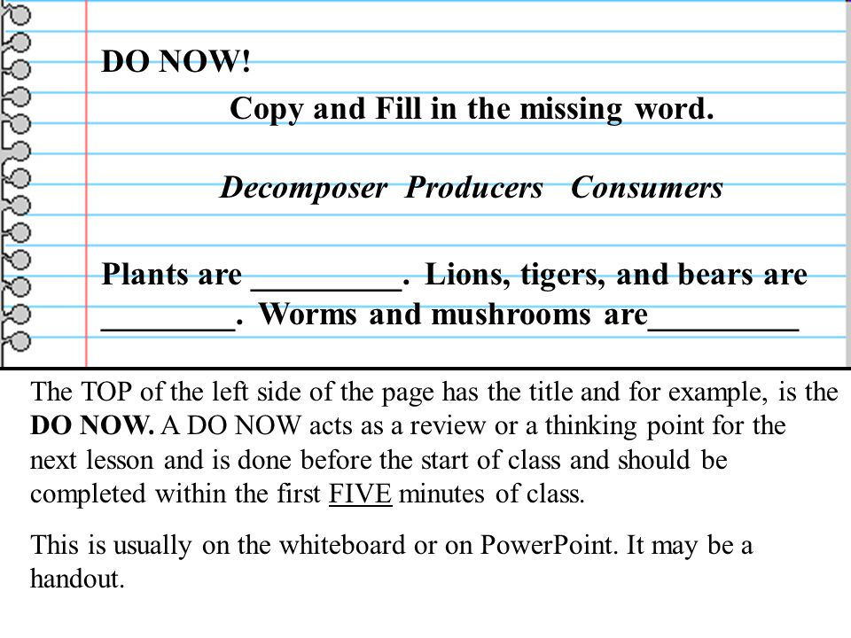 Copy and Fill in the missing word. Decomposer Producers Consumers
