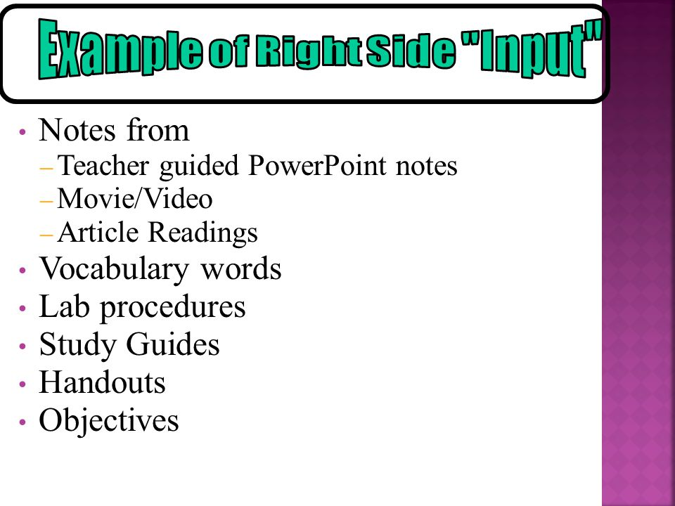 Example of Right Side Input