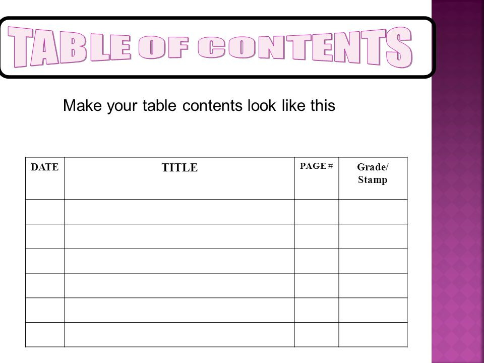 TABLE OF CONTENTS Make your table contents look like this TITLE DATE