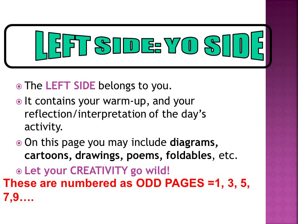 LEFT SIDE: YO SIDE These are numbered as ODD PAGES =1, 3, 5, 7,9….