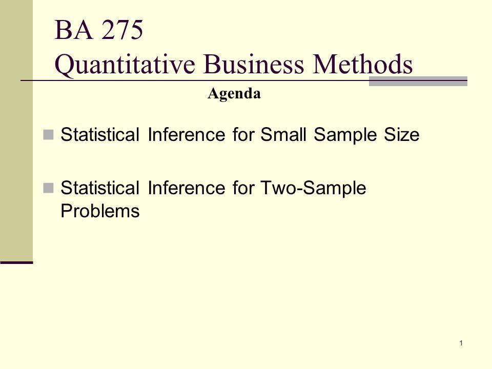 BA 275 Quantitative Business Methods