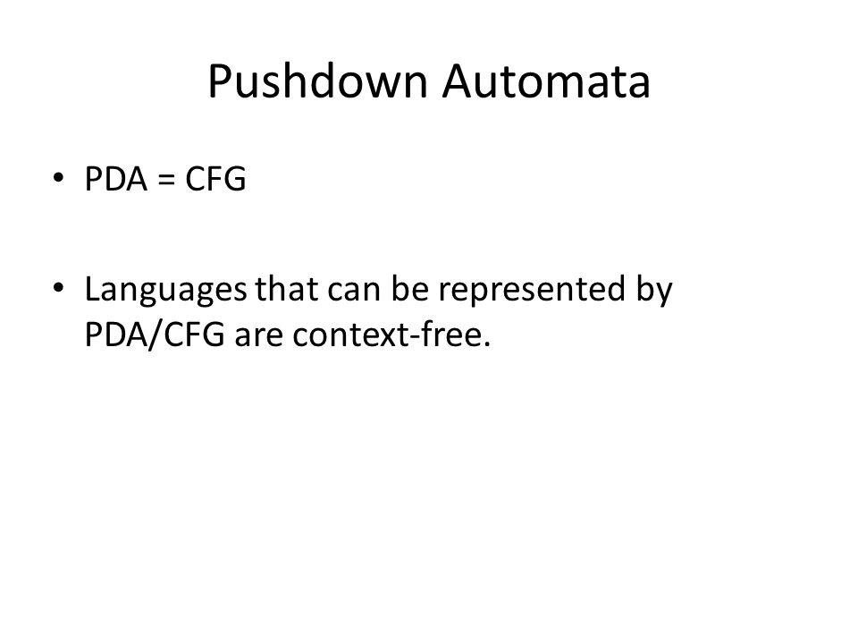 Pushdown Automata PDA = CFG