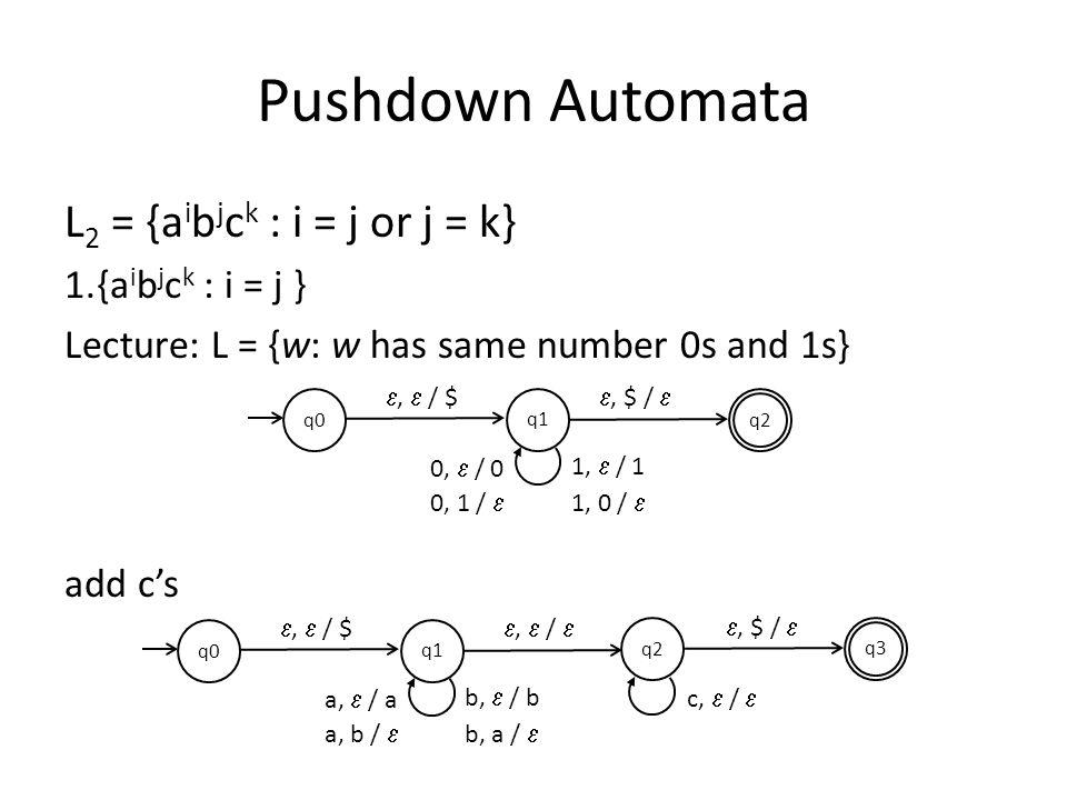 Pushdown Automata L2 = {aibjck : i = j or j = k} {aibjck : i = j }