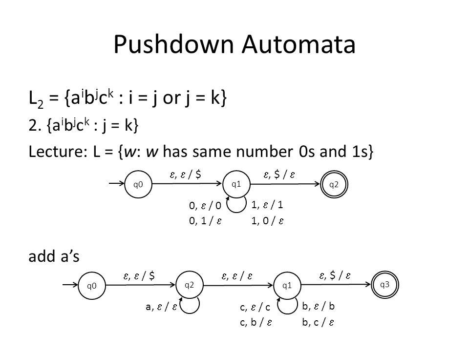 Pushdown Automata L2 = {aibjck : i = j or j = k} 2. {aibjck : j = k}