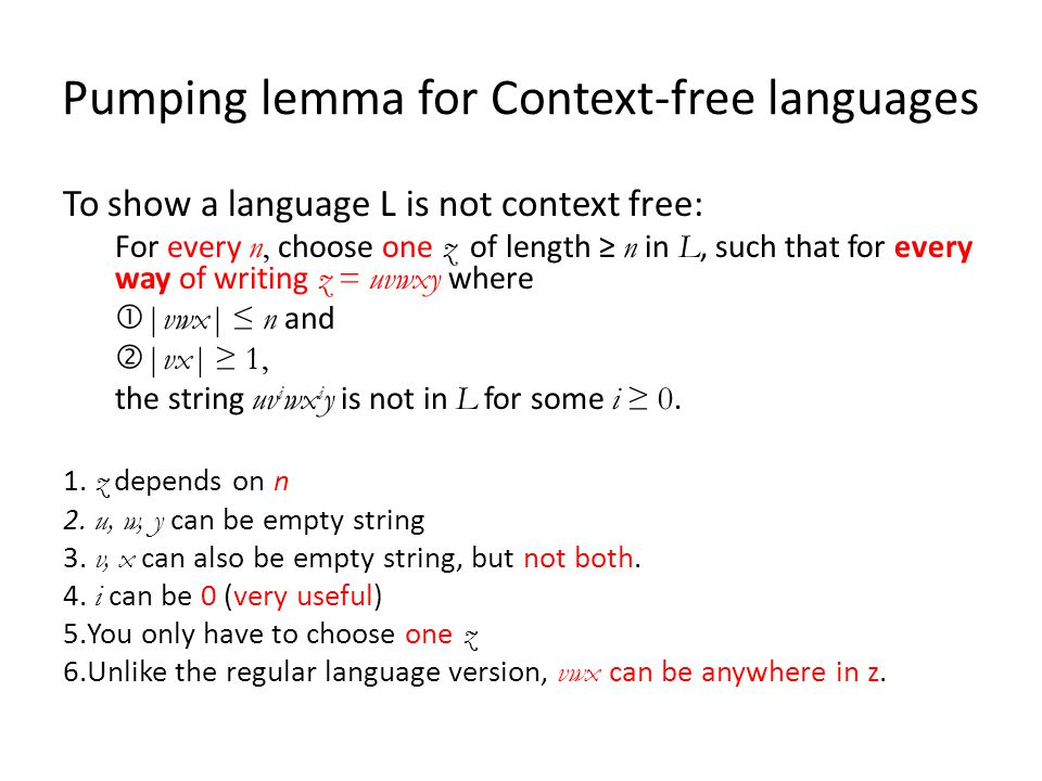 Pumping lemma for Context-free languages