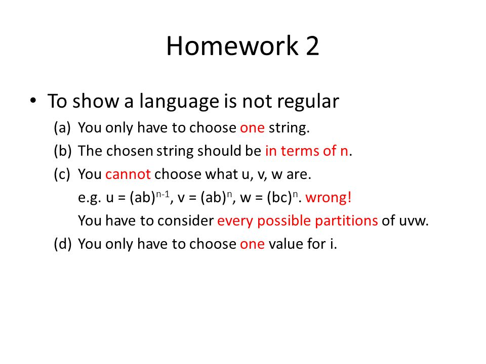 Homework 2 To show a language is not regular