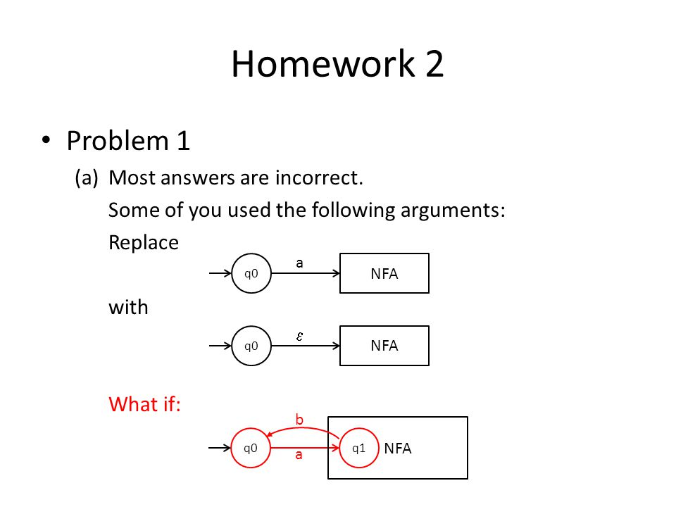 Homework 2 Problem 1 Most answers are incorrect.