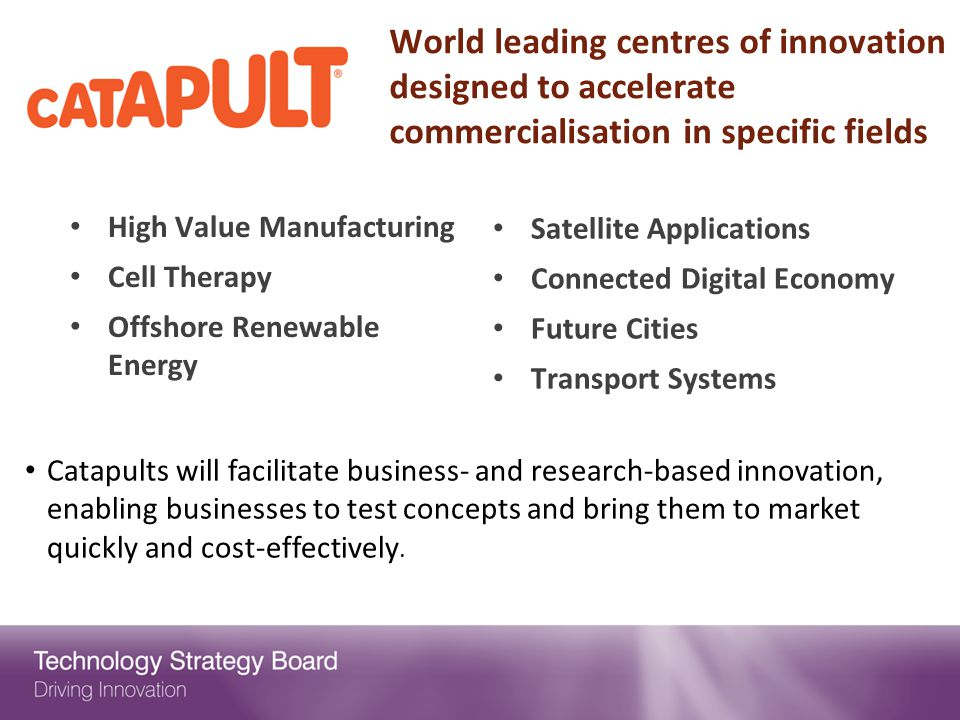 World leading centres of innovation designed to accelerate commercialisation in specific fields