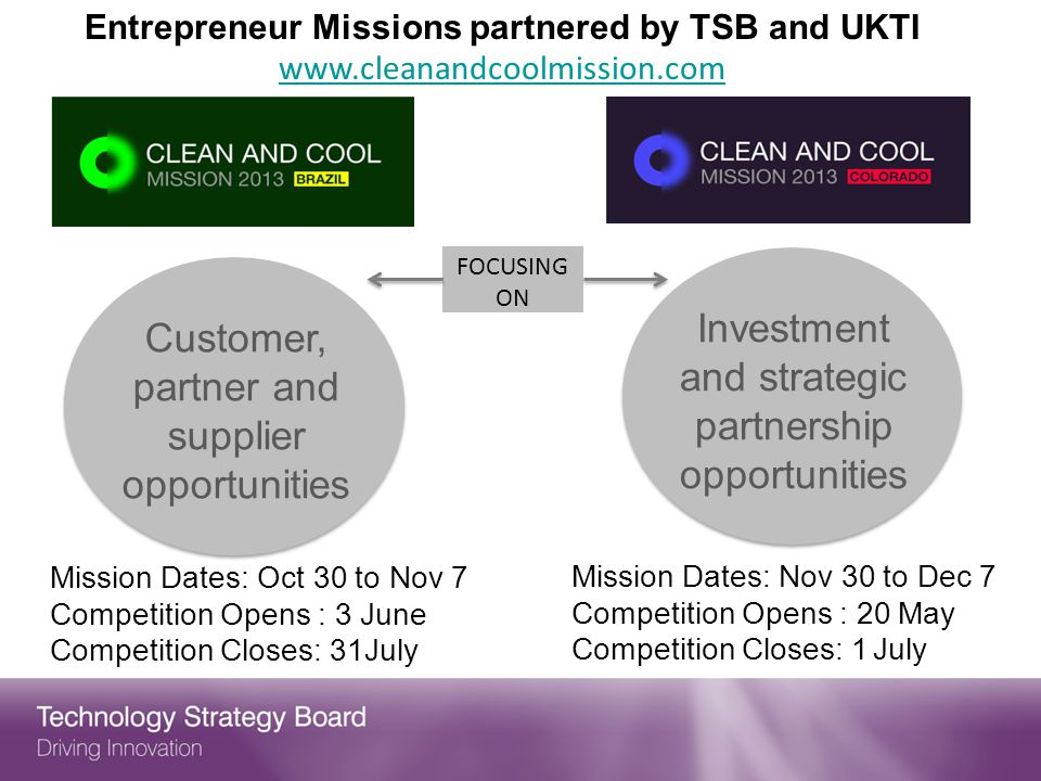 Entrepreneur Missions partnered by TSB and UKTI