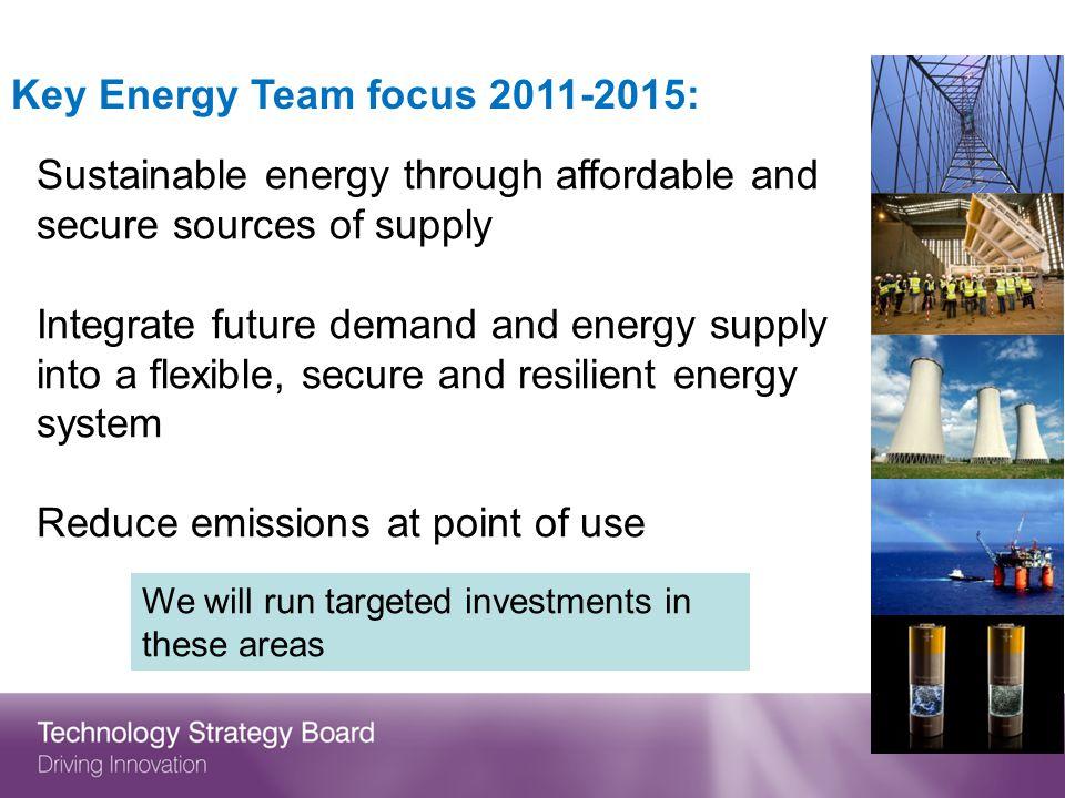 Key Energy Team focus 2011-2015: