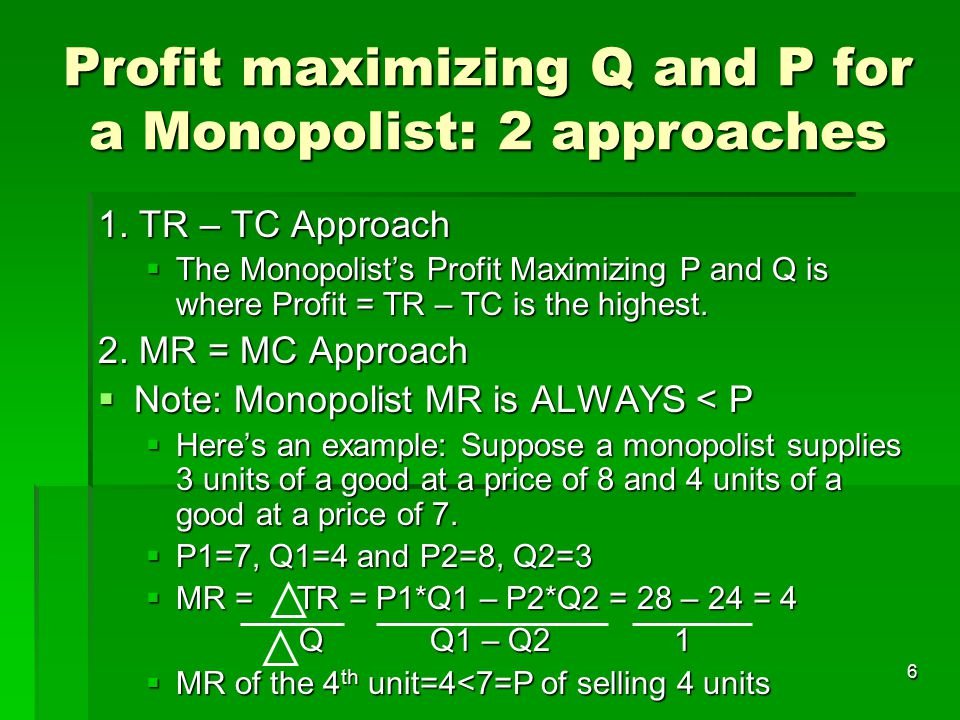 Profit maximizing Q and P for a Monopolist: 2 approaches