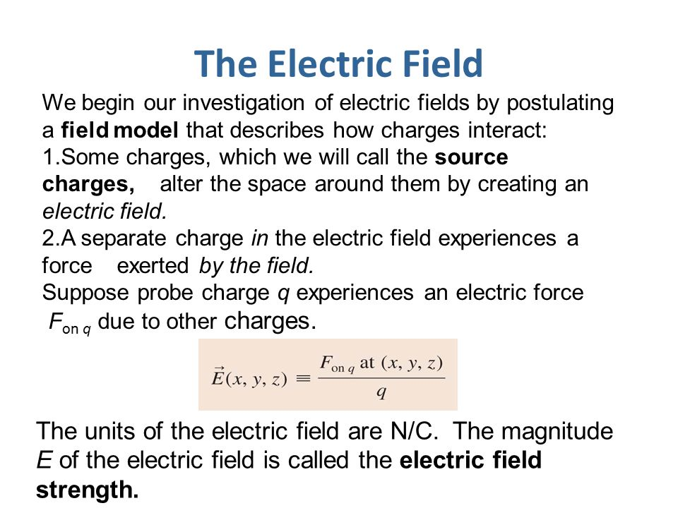 The Electric Field We begin our investigation of electric fields by postulating a field model that describes how charges interact: