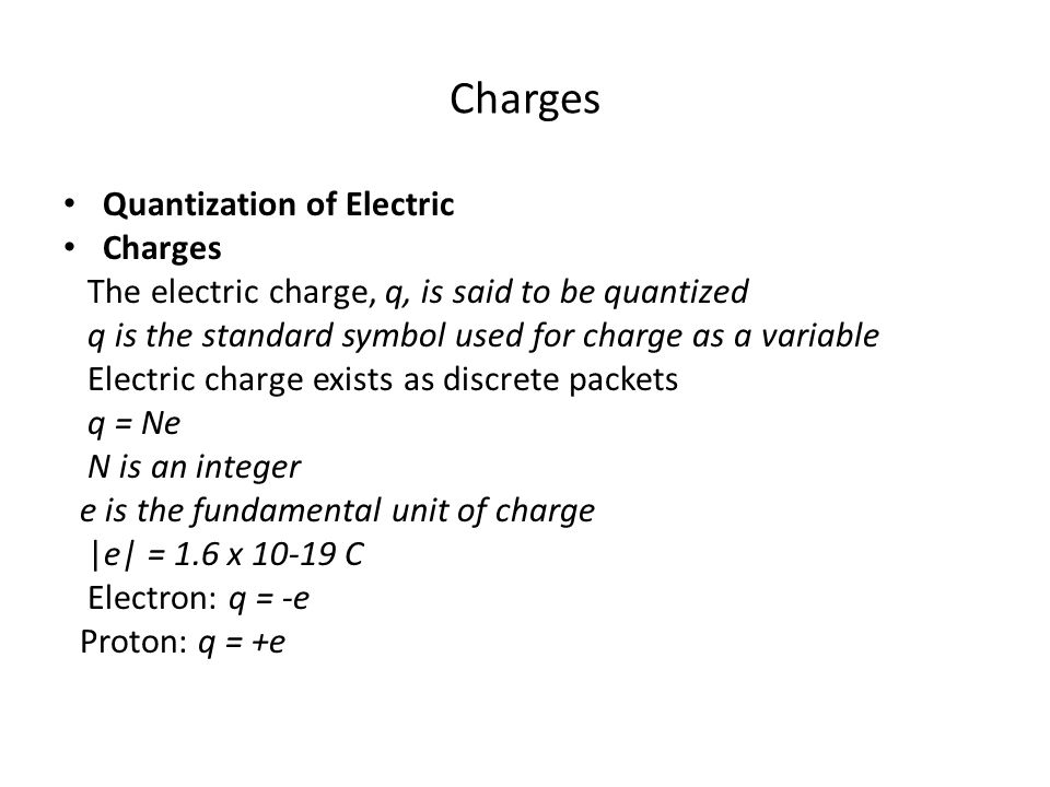 Charges Quantization of Electric Charges
