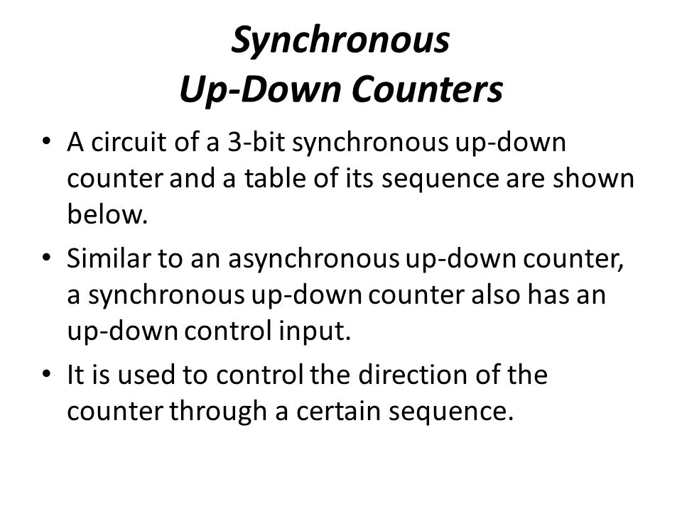 Synchronous Up-Down Counters